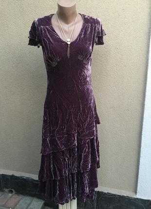 Бархат,велюр,плюш,шёлк платье многослойное,рюши,воланы,ретро,в...