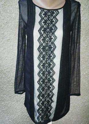 Платье(туника) с кружевом,блуза удлиненная.