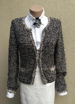 Трикотаж жакет,пиджак,кардиган,кофта букле+шёлк окантовка,стил...
