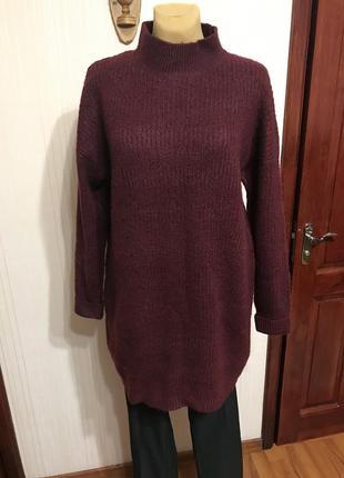 Свитер-платье винного цвета