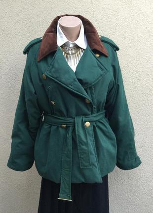 Винтаж,тёплая куртка-пуховик реглан,под пояс,ворот замша,люкс ...