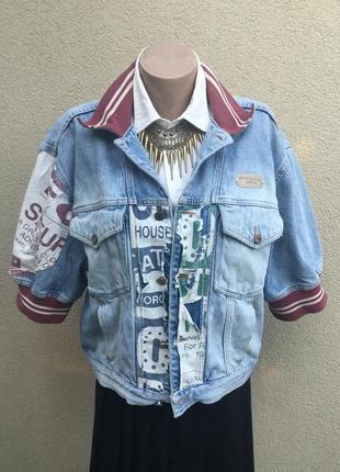 Винтаж,джинс куртка с потертостями,жакет,пиджак,бомбер,унисекс...
