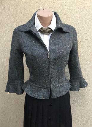 Винтаж,легкий жакет,пиджак,куртка шерсть,рюши,воланы,баска,люк...