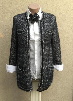 Удлиненный жакет,пиджак без застежки,кардиган,трикотаж травка,...
