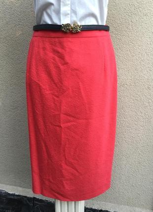 Винтаж,красная,фактурная юбка-карандаш,шерсть,люкс бренд,ориги...