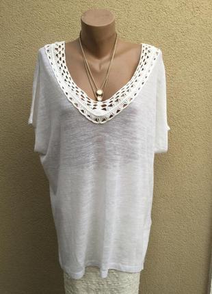 Белая,трикотаж,лен футболка,блуза,кофточка,кружево,этно,бохо с...