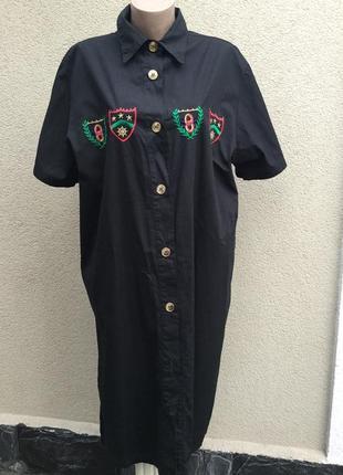 Винтаж,чёрное платье-рубашка,халат,вышивка,дизайн,dona daphna,...