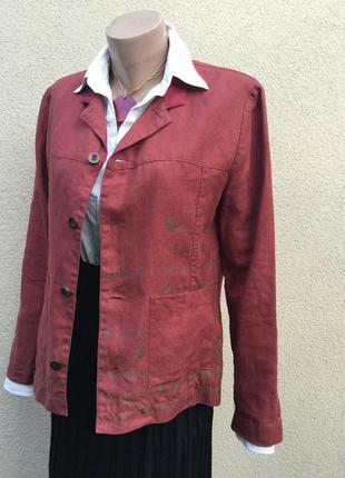 Лён жакет,пиджак,блейзер с золотой росписью,кэжуал,этно,бохо с...