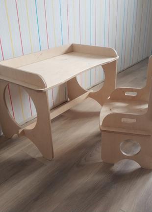 Стол детский и стул детский для ребенка в детскую из фанеры дерев