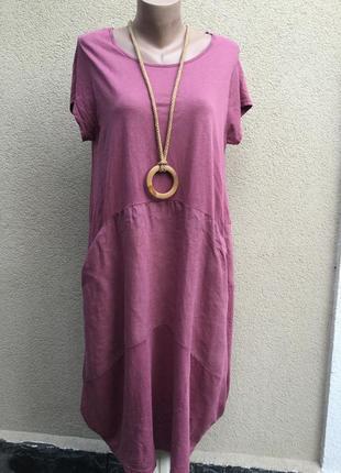 Платье-футболка,комбинированная ткань,хлопок,италия,этно,бох с...