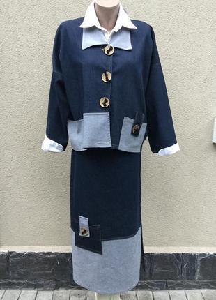 Винтаж,эксклюзив,джинс костюм(жакет,пиджак,куртка-юбка)этно,бо...