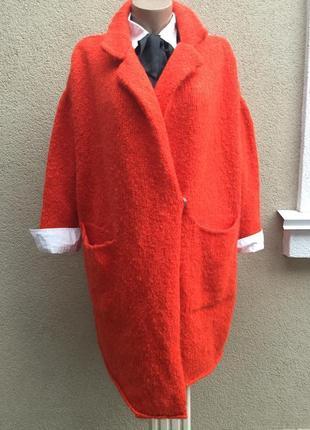 Красный,тёплый кардиган,вязанное пальто,кофта,шерсть,мохер,бол...