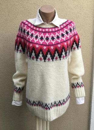 Тёплая,вязанная кофта-реглан,джемпер,свитер в орнамент,шерсть,...