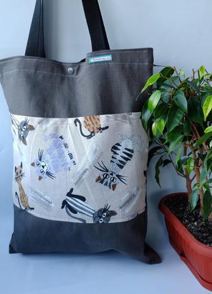 Эко сумка для покупок с котами, сумка пакет, эко торба, сумка ...