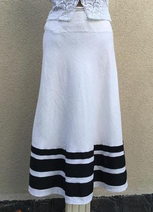 Белая,летняя,льняная юбка,морской стиль в полоску,большой разм...