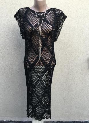 Вязанное,ажурное-кружевное-сетка платье с открытой спиной,пляж...