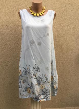 Лёгкое платье-майка,сарафан-туника,вискоза,италия,цветочный принт