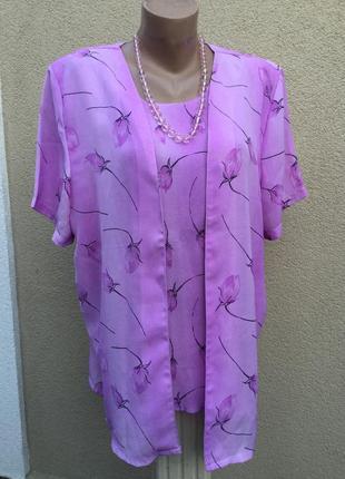 Блуза,рубаха-кардиган, двойка,цветочный принт,вискоза100%,боль...