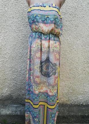 Летнее платье,сарафан с открытыми плечами в восточный принт