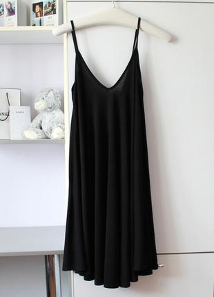 Черное базовое платье а-силуэта от boohoo