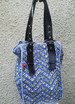 Стеганая сумка anokhi хлопок с ручками из кож.зама,этно.