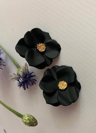 Изящные женские цветочные серьги, серьги черный цветок