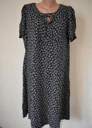 Натуральное платье с принтом большого размера marks & spencer