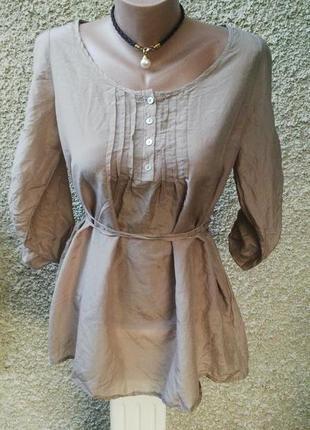 Шелковая блуза,рубаха под пояс  италия в этно стиле(хлопок)