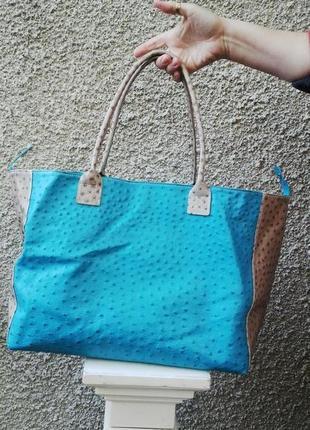 Большая  сумка-шопер  из   плотной  кожи  италия