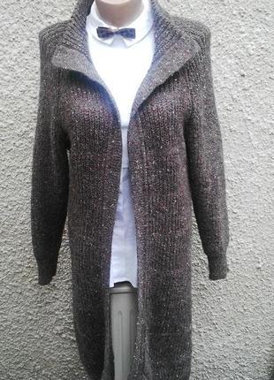 Шерстяной кардиган,пальто вязанное,без застежки,кофта удлиненная