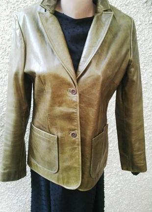 Крутой кожаный жакет,пиджак из плотной кожи, gap