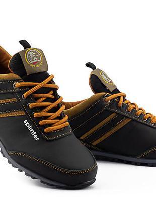 Подростковые кроссовки кожаные весна/осень черные-коричневые s...