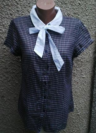 Блузка,рубашка в клетку с белым  бантом ,хлопок, большой размер