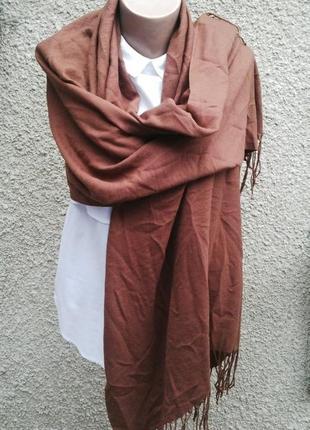 Большой кашемир + шелк  шарф с бахромой оригинал