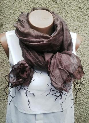 Очень красивый,легкий,воздушный шелковый шарф с бахромой(хлопо...