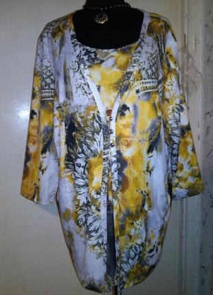Красивая,трикотажная,стрейч,блуза-кардиган-обманка,большого ра...