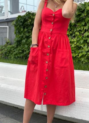💕яркое летнее платье , сарафан , миди , лен 💕