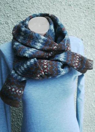 Теплый,вязанный ,двойной,шерстяной шарф