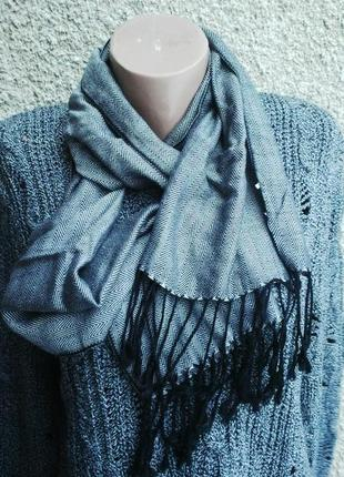 Тонкий, классический шарф с бахромой,приятный к телу(хлопок,ше...