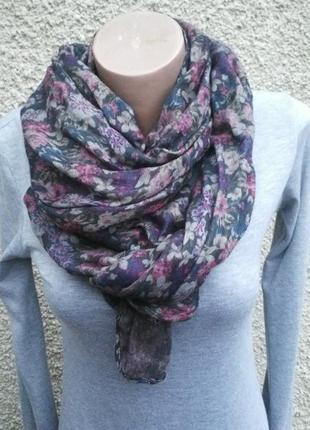 Большой шарф в цветочный принт,двухсторонний( цветы + мелкий г...