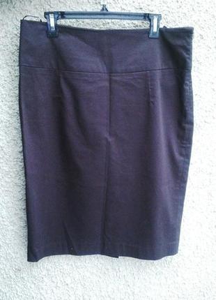 Коричневая юбка - карандаш большого размера,хлопок, reserved