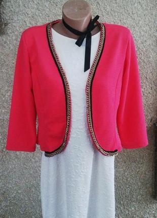 Красивый розовый жакет(пиджак)без застежки из фактурной ткани ...