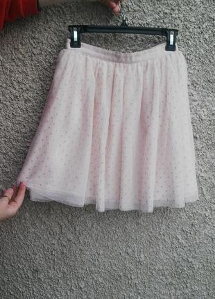Красивая,пудровая юбка с фатина в горохи, большого размера