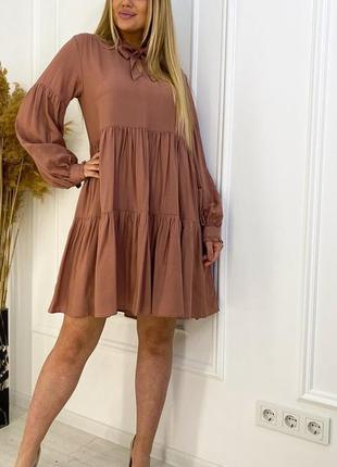 Летнее платье штапель коричневый