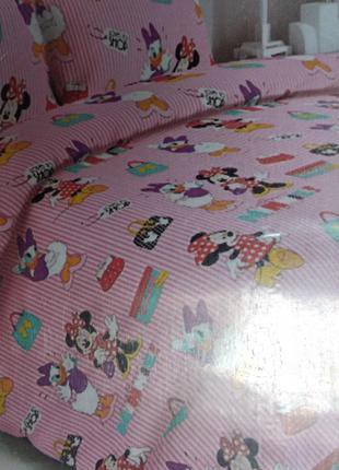"""Детский комплект постельного белья из ранфорс""""дисней минни маус"""""""