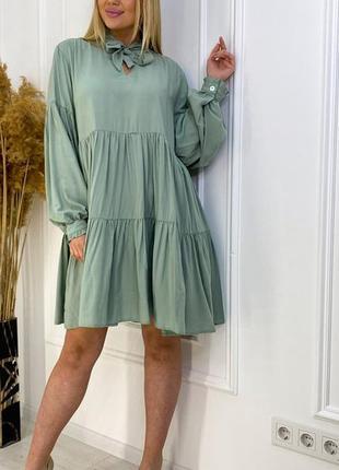 Летнее платье штапель оливковый