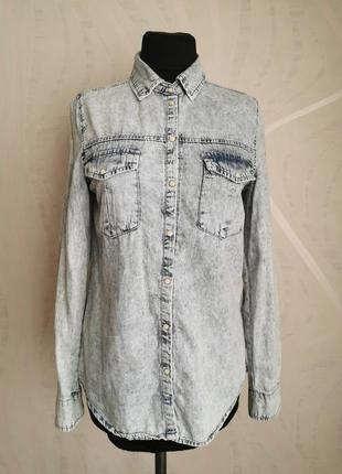 Джинсовая рубашка с длинным рукавом,легкий коттон