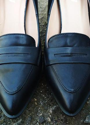 Sale! кожаные туфли лодочки на каблуке