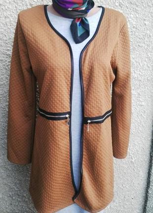 Кардиган,жакет(пиджак) удлиненный из фактурной ткани,без засте...