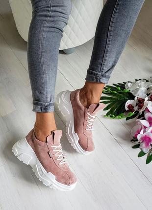 Замшевые кроссовки натуральная замша кожа